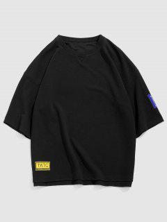 Letter Print Applique Detail High Low T-shirt - Black S