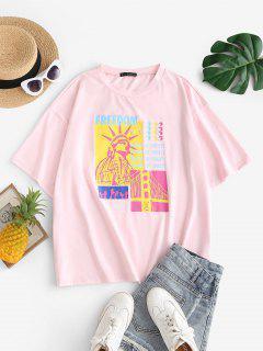 ZAFUL T-shirt Graphique Statue De La Liberté De Grande Taille - Rose Clair 3xl