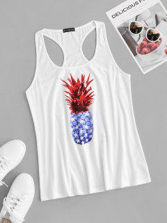 ZAFUL Plus Size Pineapple Print Racer Tank Top - White 5xl