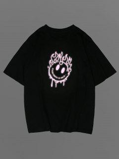 ZAFUL Cartoon Gesicht Emoticonmuster Grafik T-Shirt - Schwarz L