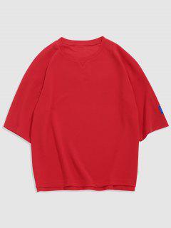 Letter Applique Detail Side Slit Texture T-shirt - Red L