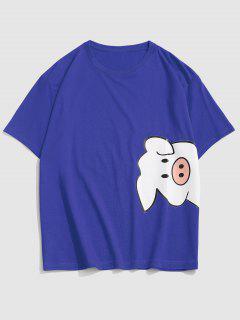 Cartoon Pig Print Cute T-shirt - Blue M