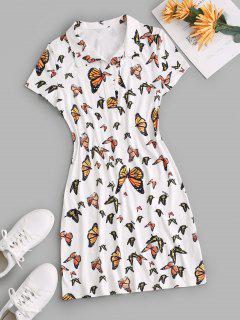Low Cut Butterfly Mini Tee Dress - White S