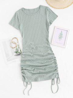 Cinched Side Ribbed Slinky Mini Dress - Green Xs