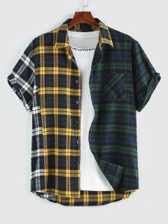 ZAFUL Contrasting Plaid Short Sleeve Shirt - Multi Xl
