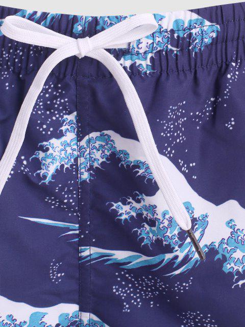 trendy Ocean Waves Print Board Shorts - MIDNIGHT BLUE M Mobile