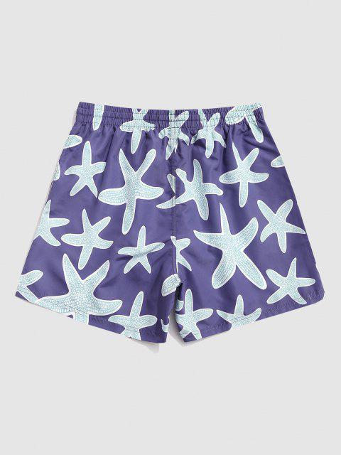 unique Starfish Print Board Shorts - DEEP BLUE M Mobile