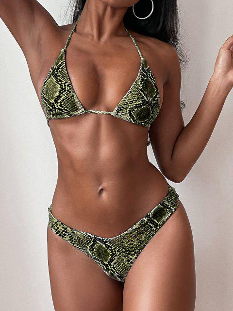 buy ZAFUL Halter Snakeskin Leopard High Leg Bikini - FERN GREEN M Mobile