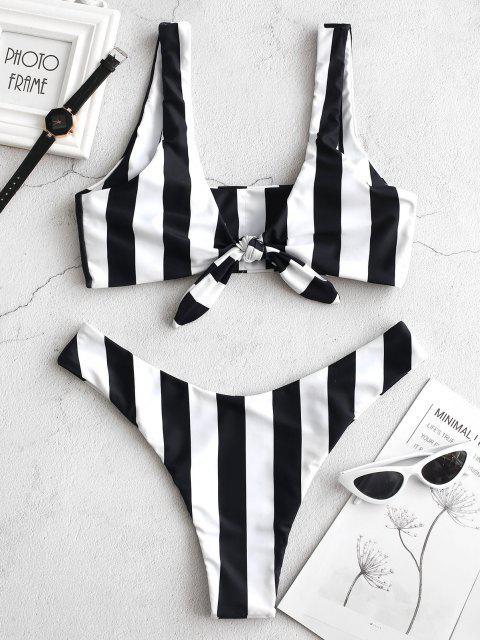 Bikini de Rayas con Nudo ZAFUL - Negro S Mobile