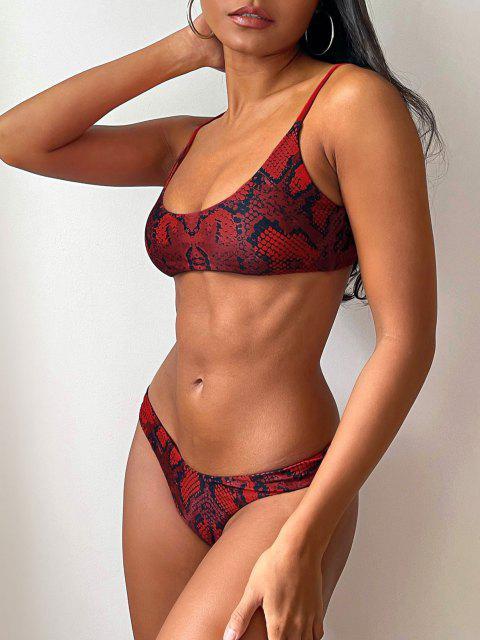 lady ZAFUL Snakeskin Print Bralette Bikini Set - CHERRY RED S Mobile
