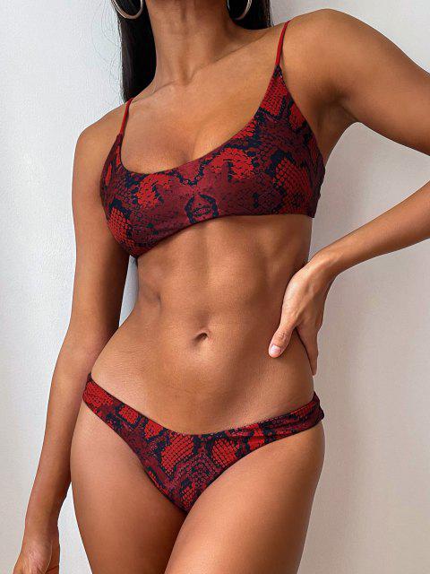 Bikini de Bralette con Estampado de Piel de Serpiente ZAFUL - Rojo Cereza M Mobile