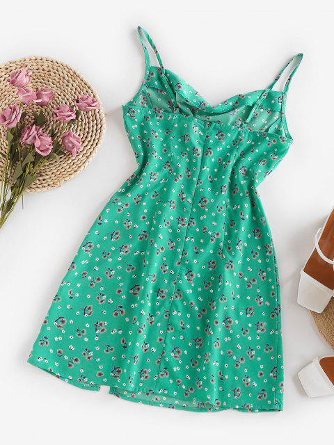 womens ZAFUL Floral Cowl Front M Slit Mini Dress - LIGHT GREEN S Mobile