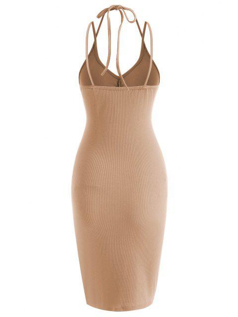 Geripptes Mini Kleid mit Geraffter Marmorverzierung - Kaffee S Mobile