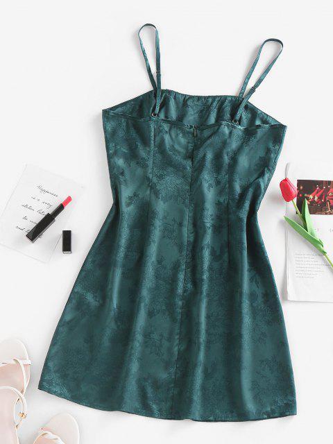 ZAFUL Jacquard Kleid aus Satin mit Rüschen - Dunkelgrün S Mobile