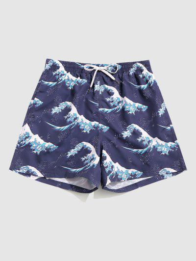 Ocean Waves Print Board Shorts - Midnight Blue M