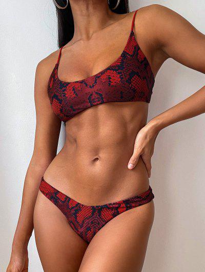 ZAFUL Snakeskin Print Bralette Bikini Set - Cherry Red M