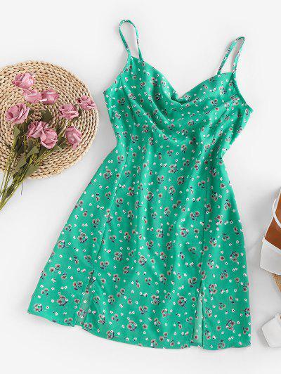 ZAFUL Floral Cowl Front M Slit Mini Dress - Light Green M