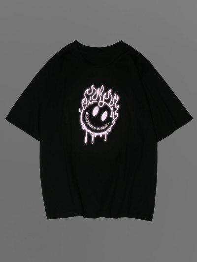 ZAFUL Cartoon Face Flame Reflective Print Graphic T-shirt - Black S