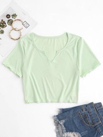 Ribbed V Notch Pastel Baby Tee - Light Green M
