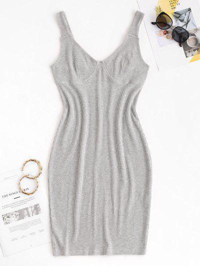 Slinky Ribbed Bustier Tank Dress - Gray L