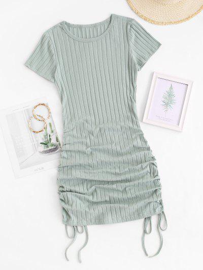 Mini Robe Ajustée Côtelée Sanglée - Vert M