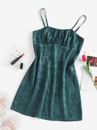 ZAFUL Jacquard Floral Satin Ruched Slip Dress - Deep Green S