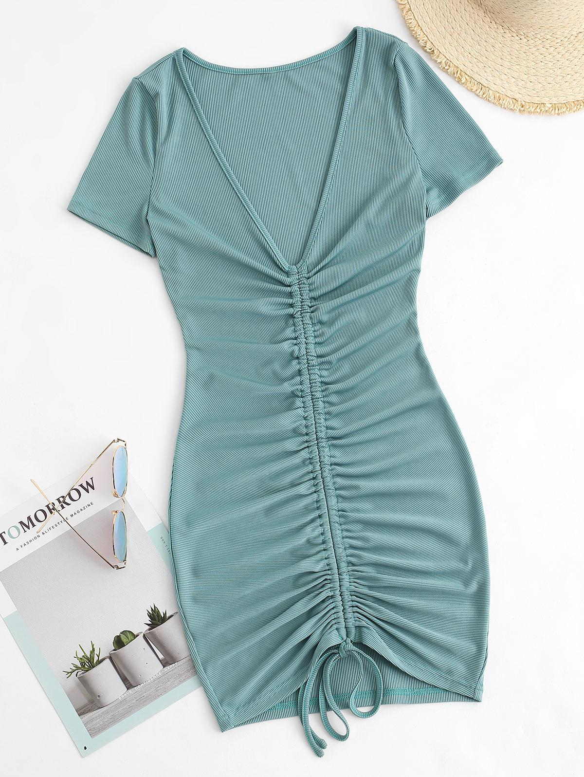 Ribbed Cinched Bodycon Ruched Plunge Dress