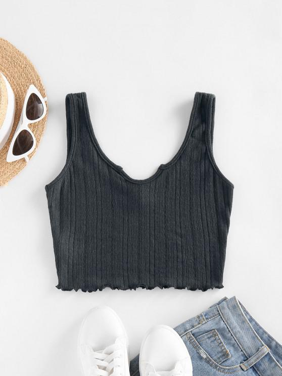 women's ZAFUL Lettuce Trim Notched Knitted Crop Top - DARK GRAY S