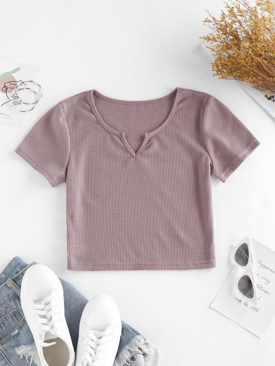 buy ZAFUL Knitted V Notch Crop T Shirt - PURPLE S