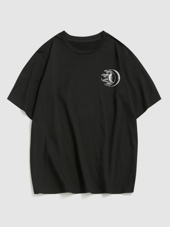 hot ZAFUL Sun Moon Print Short Sleeve T-shirt - BLACK XL