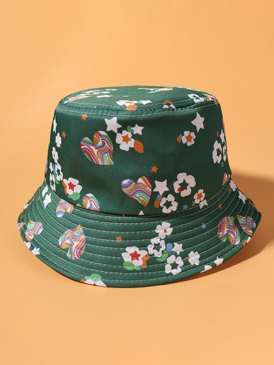 Flower Heart Star Print Casual Bucket Hat - أخضر