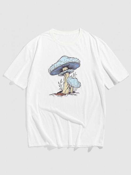 Cartoon Mushroom Print Short Sleeve T-shirt - أبيض S