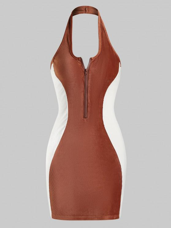 affordable Halter Ribbed Velvet Half-zip Bicolor Bodycon Dress - COFFEE L