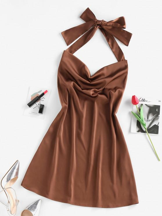 affordable ZAFUL Satin Halter Open Back Cowl Front Dress - COFFEE S