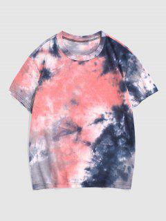 絞り染め半袖Tシャツ - ライトピンク 3xl