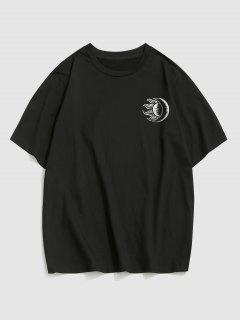 ZAFUL Sun Moon Print Short Sleeve T-shirt - Black M