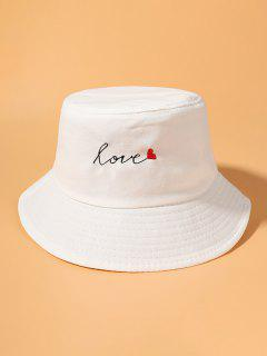 Letter Heart Embroidered Cotton Bucket Hat - White