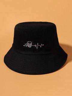 Beer Electrocardiogram Embroidered Cotton Bucket Hat - Black