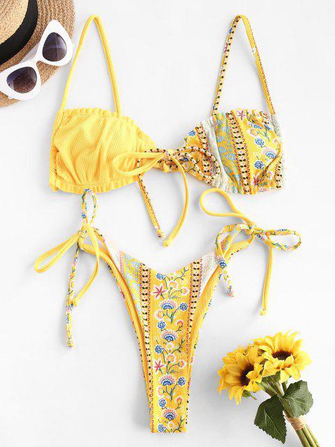 ZAFUL Costume da Bagno Bikini Stringato con Stampa Cachemire - Giallo S Mobile
