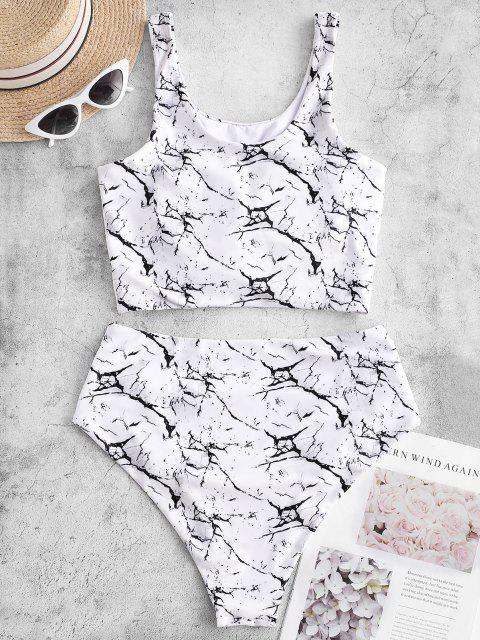chic ZAFUL Knot Ruched Marble Print Tankini Swimsuit - WHITE M Mobile
