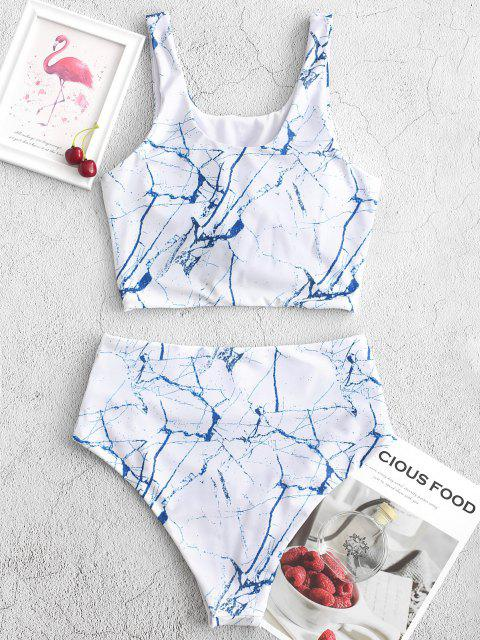 outfits ZAFUL Knot Ruched Marble Print Tankini Swimsuit - OCEAN BLUE S Mobile