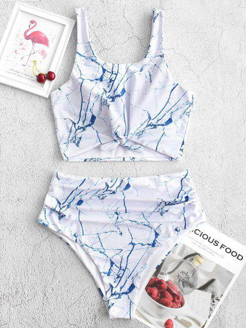 fashion ZAFUL Knot Ruched Marble Print Tankini Swimsuit - OCEAN BLUE 2XL Mobile