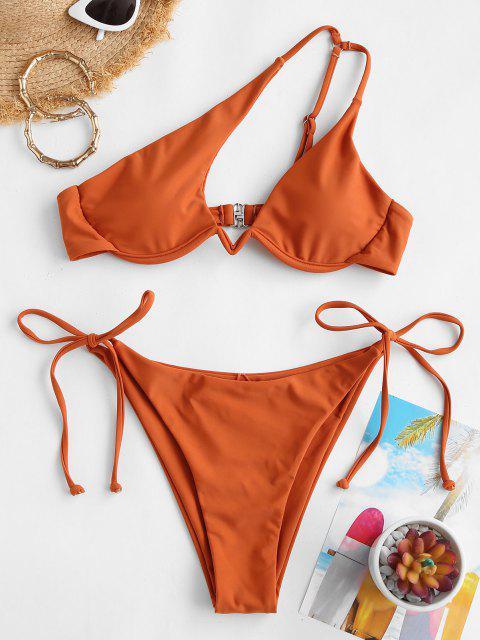 ZAFUL Maillot de Bain Bikini Découpé à Une Epaule avec Ceinture - café M Mobile