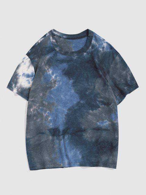 Tie-dye Short Sleeve T-shirt - اللون الرمادي M Mobile