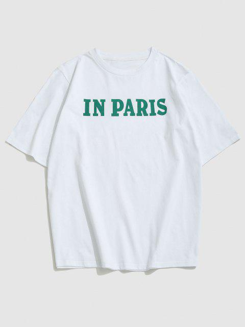 trendy ZAFUL IN PARIS Letters Print T-shirt - WHITE XL Mobile