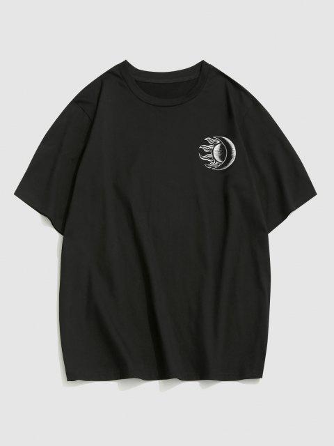ZAFUL Sun Moon Print Short Sleeve T-shirt - أسود XL Mobile
