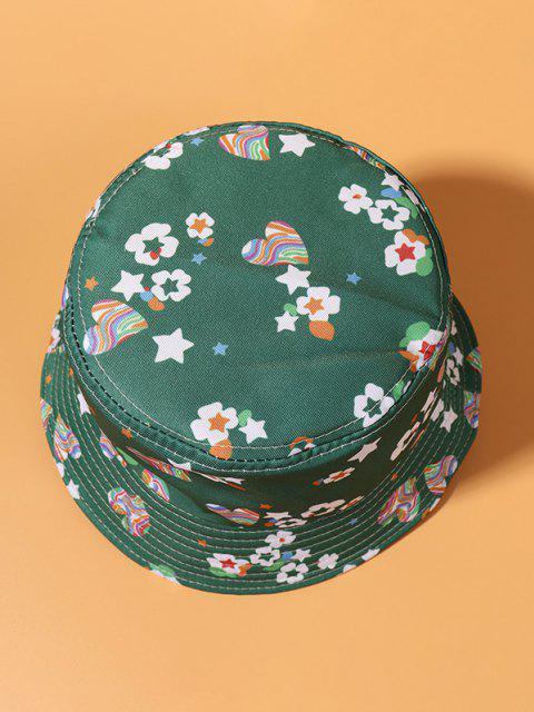 Blumen Herz Sterndruck Lässige Bucket Hut - Grün  Mobile