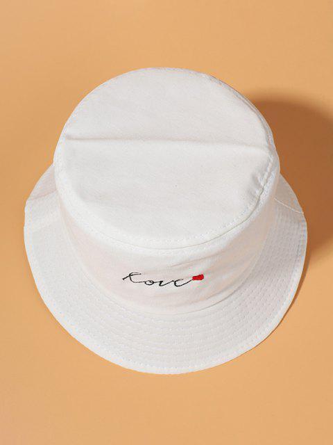 Baumwoll Herz Buchstabe Gestickter Bucket Hut - Weiß  Mobile