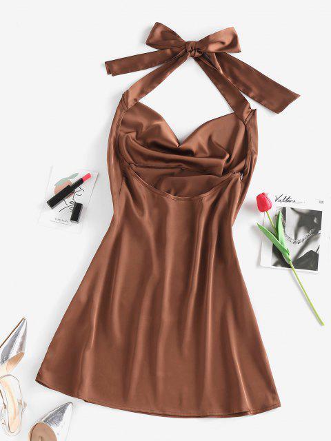 ZAFUL Neckholder Kleid mit Kapuze und Offenem Rücken - Kaffee M Mobile
