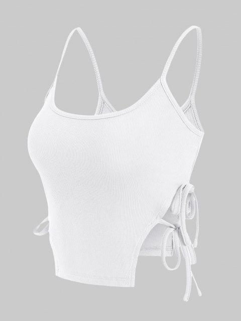 buy ZAFUL Ribbed Tie Side Slit Cami Top - WHITE L Mobile